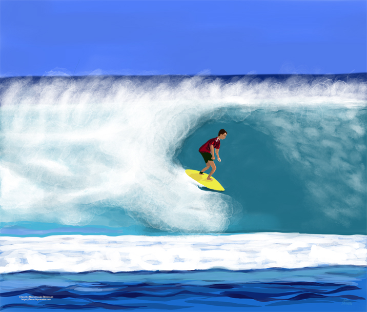 Surfer Dude is a fun digital painting by Annette Marionneaux Stevenson of a surfer enjoying the waves. For prints of Surfer Dude see the shops section.