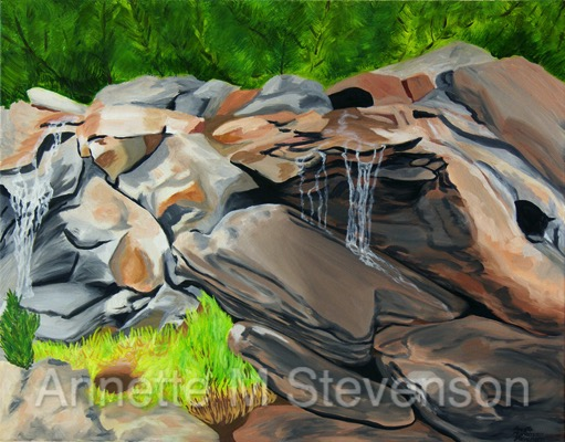 On The Rocks waterfall painting artwork by Annette M Stevenson is a soothing way to settle down when you get home from work. Sit and relax next to this waterfall and let your troubles fade away. Notice the way the filtered sunlight falls on the rocks and water. Create a peaceful serene place in the woods for your home with this painting.