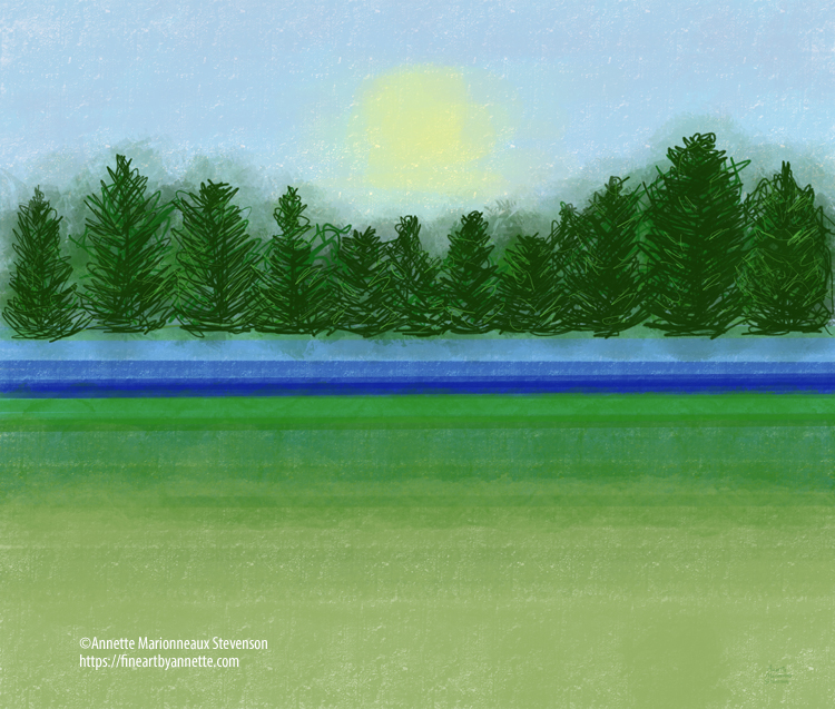 A digital painting of a green field, blue river, green trees, yellow sun and blue sky.