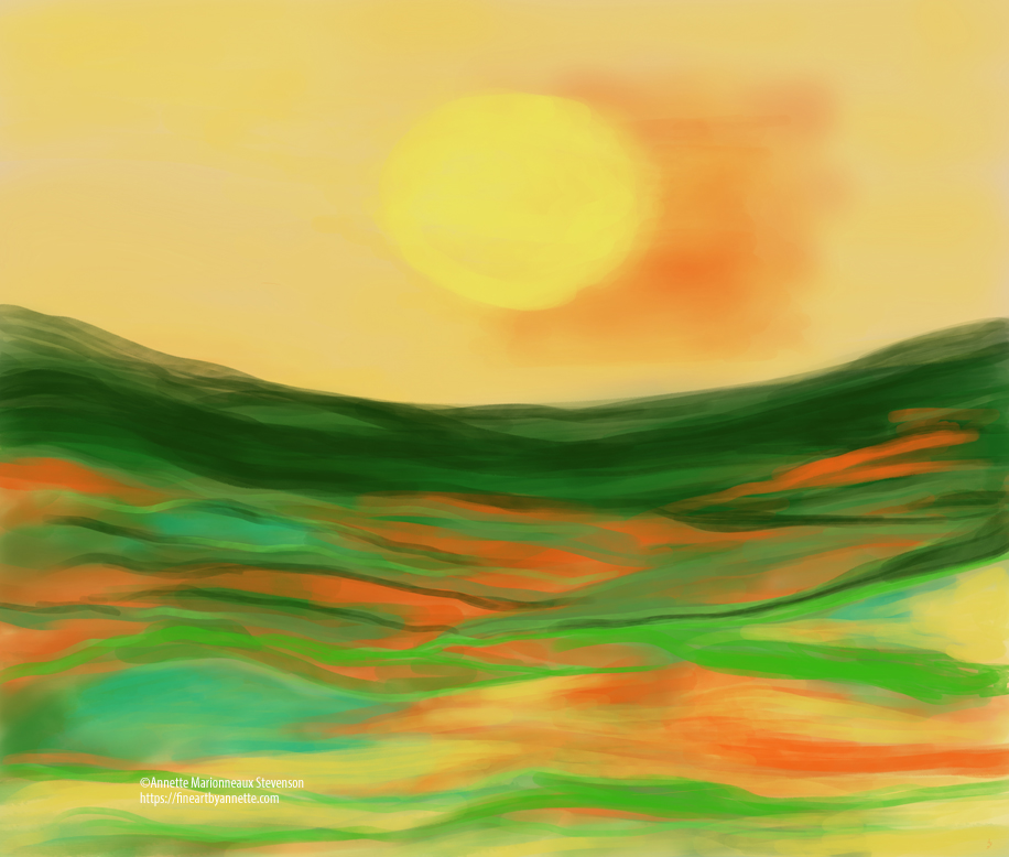 An abstract digital painting of a lovely morning sunrise using yellow, green, orange colors.