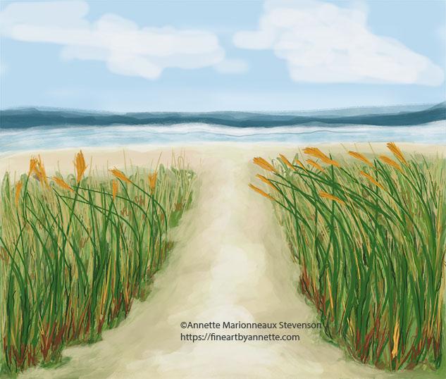 Quiet beach pathway; beach; pathway; pathways; secluded beach; peaceful beach; calming beach days; seagrass pathway; beach seagrass; secluded beach