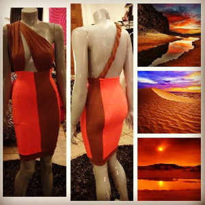 This exotic inspired dress fuses the colors of a sunset with a beautiful braid detail along the back.