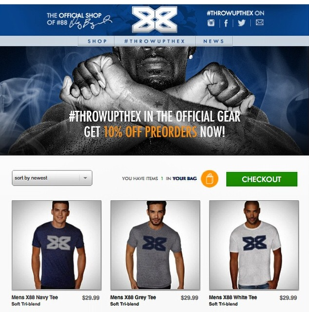 Dallas Cowboys wide receiver Dez Bryant launched ThrowUpTheX.com brand site on August 28, 2014 at 8:08 AM CDT.