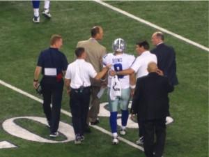 Dallas Cowboys Quarterback Tony Romo walks off field after suffering a back injury against the Washington Redskins October 27, 2014. Mandatory Photo Credit Matt Thornton Dallas Entertainment Journal