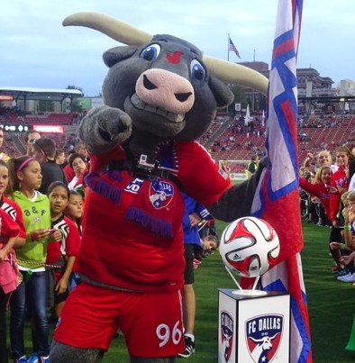 FC Dallas Mascot Tex Hooper Before Game