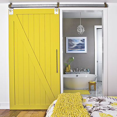 yellow sliding barn door
