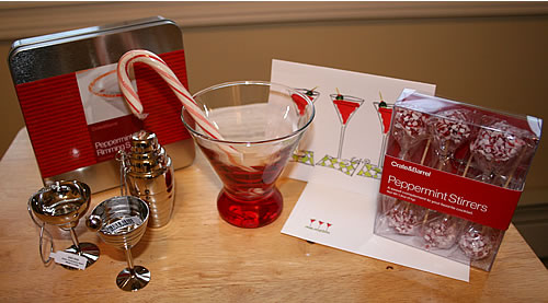 peppermint holiday cocktail gift set idea