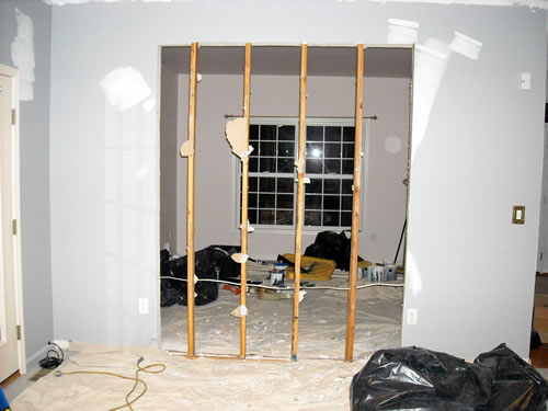entry way cut into wall
