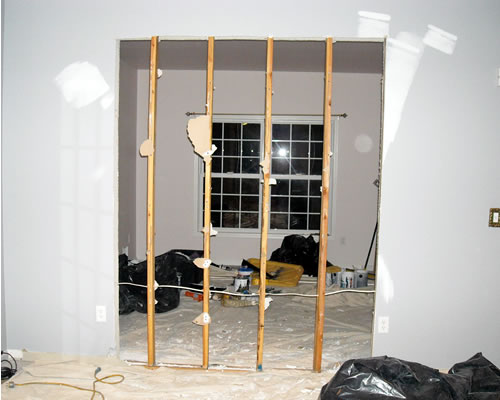 entry way cut into living room wall