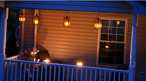 porch lanterns at night
