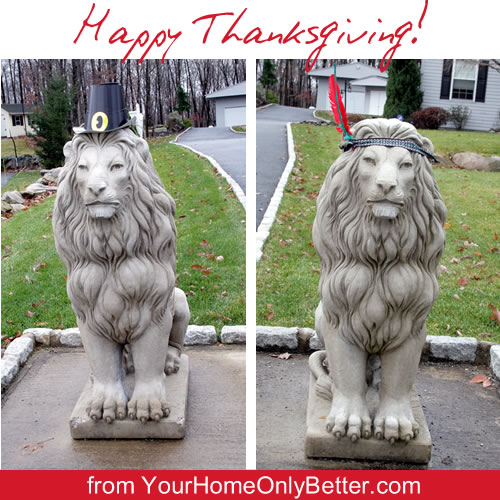 lion statues dressed for Thanksgiving Day