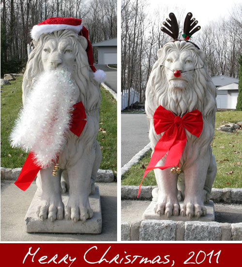 Lion Statues Ready for Christmas