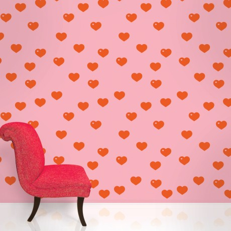 red heart removable wallpaper