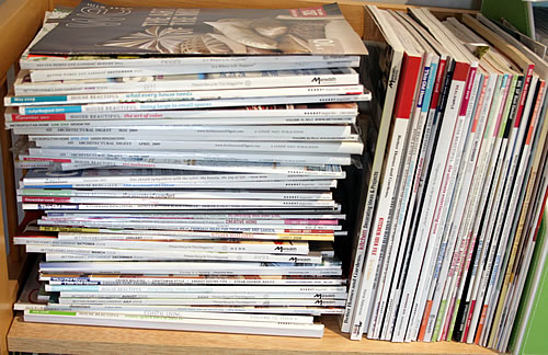 stacks of magazines