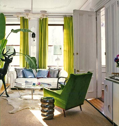 green accents make a room happy
