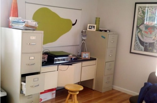 dull office cabinet - before