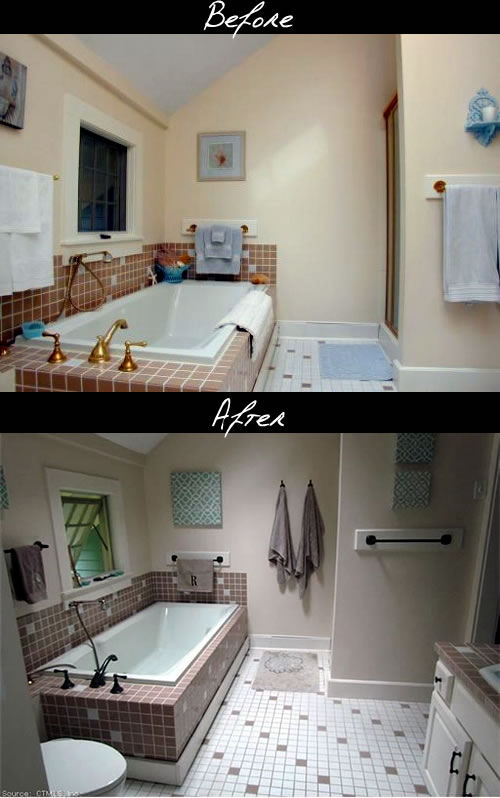 bath fixture updates before and after