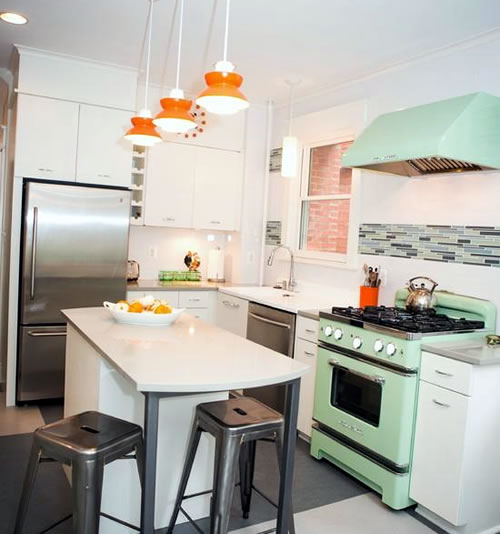 eclectic retro kitchen with big chill stove