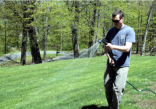 watering lawn after ironite application