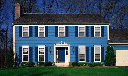 electric blue exterior house paint