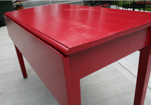 red table after repainting red