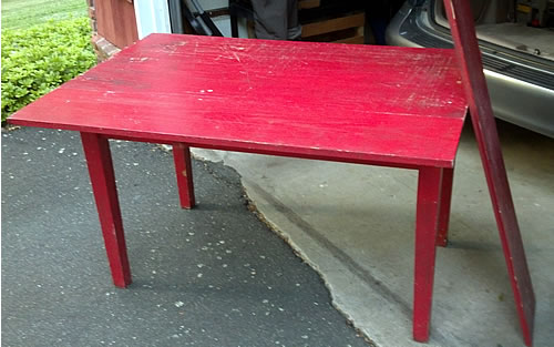 red table before refinishing