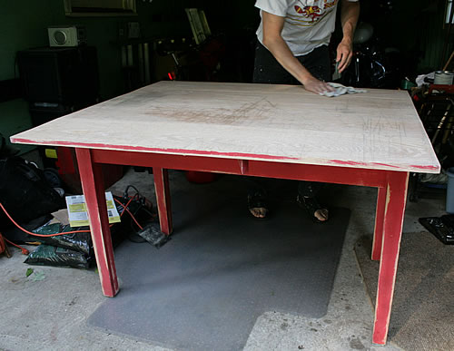 paint stripped off red table and sanded