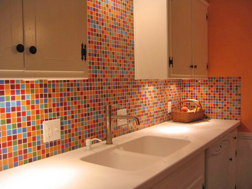 colorful tile kitchen backsplash