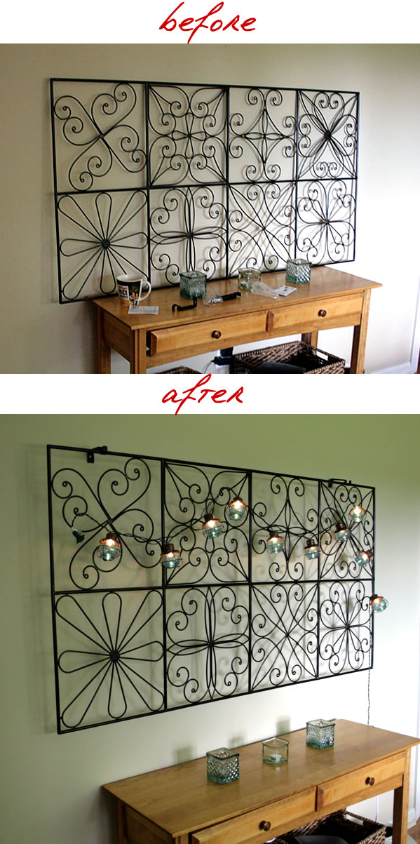 hanging metal screen on wall 3D effect before and after