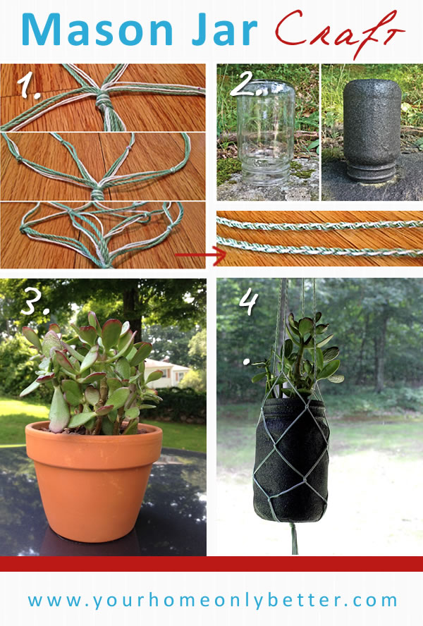 DIY mason jar craft - hanging macrame succulents