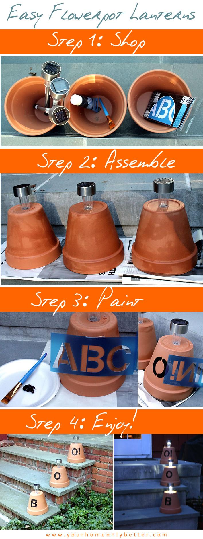 DIY flower pot lanterns for halloween