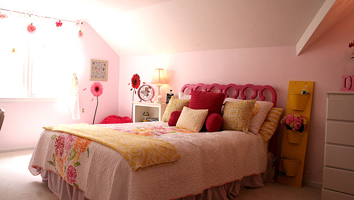 Pink and Yellow Bedroom