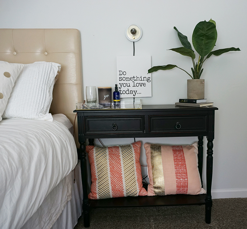 night table in bedroom