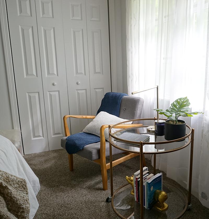 reading corner in a bedroom