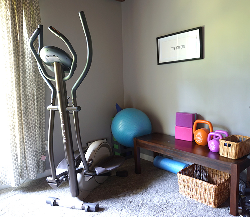 home gym in rec room