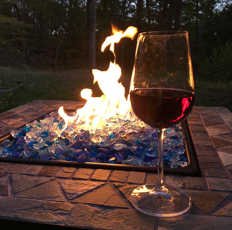 Enjoying wine outside