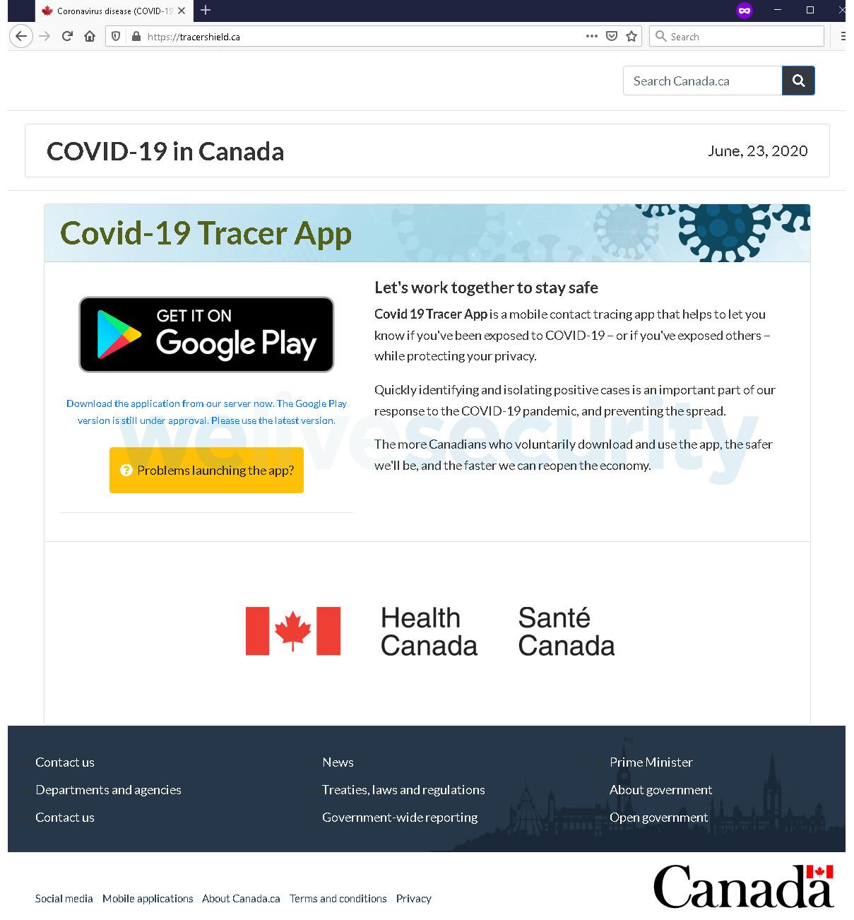 Tracershield faux site web santé canada