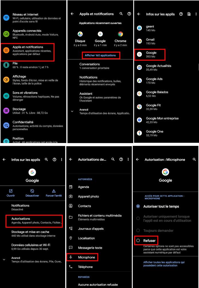 Étapes pour retirer autorisations au microphone application Google