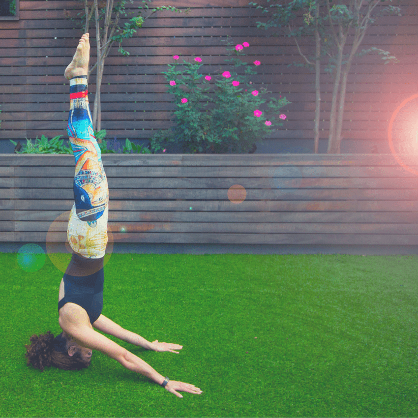 Kathy Jalali in a Head Stand with Cool Yoga Pants