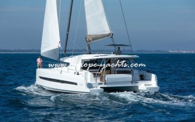 Bali 4.5 Catamaran Charter Greece with Europe Yachts back