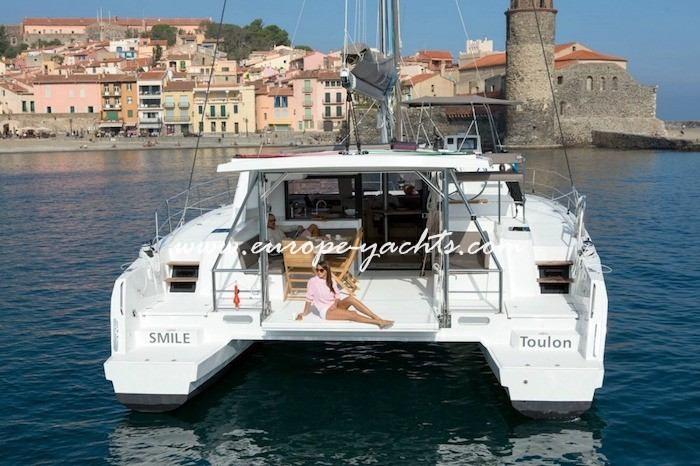 Bali 4.5 Catamaran Charter Greece with Europe Yachts back