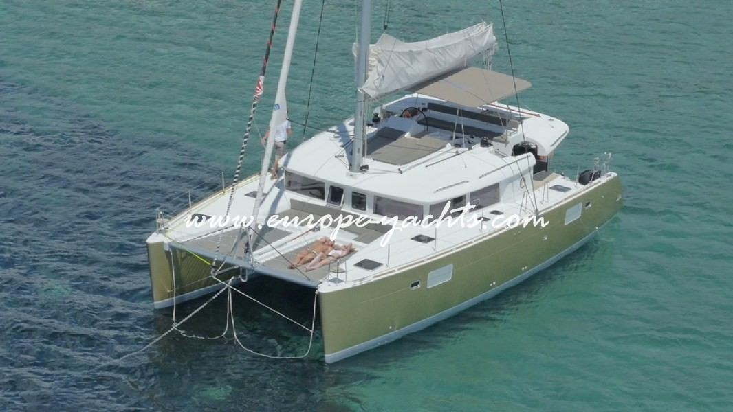 Lagoon 450 Luxury for Charter with Europe Yachts from air 3