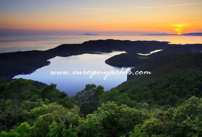 Mljet nacional park near Dubrovnik Croatia. Yacht Charter Croatia sunset