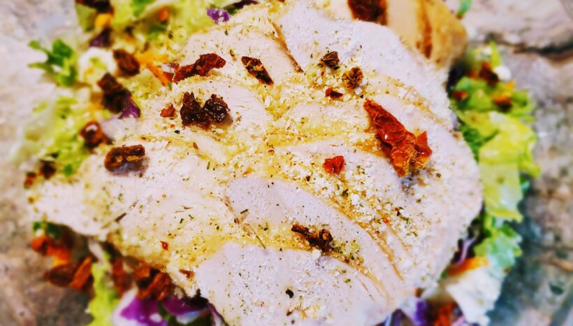 Tuscan Herb Chopped Salad With Parmesan Chicken