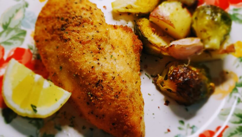 Lemon Parmesan Chicken with Roasted Potatoes &Brussel Sprouts