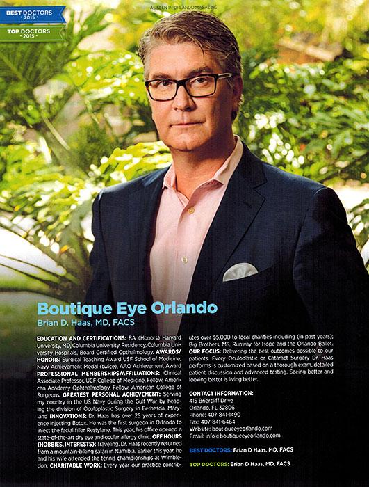 Dr. Haas, Orlando Best Doctor 2015