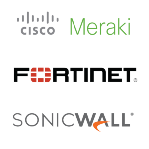 Cisco, Meraki, Fortinet and SonicWALL icons.