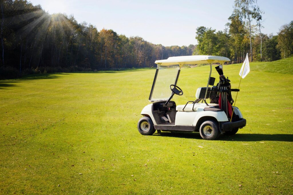 Golf cart on a golf course