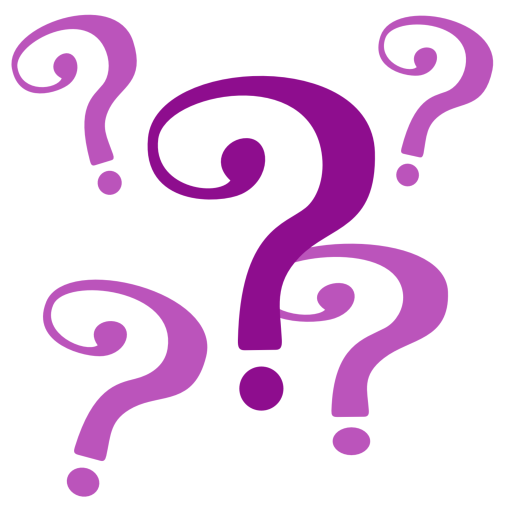 Group of purple question marks