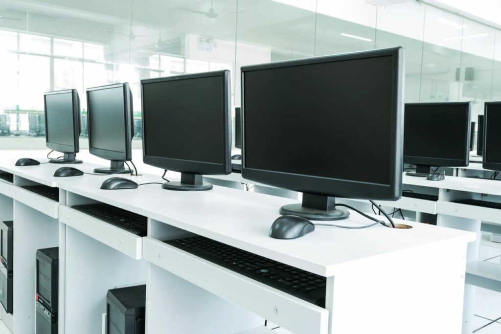 photo of a row of computers